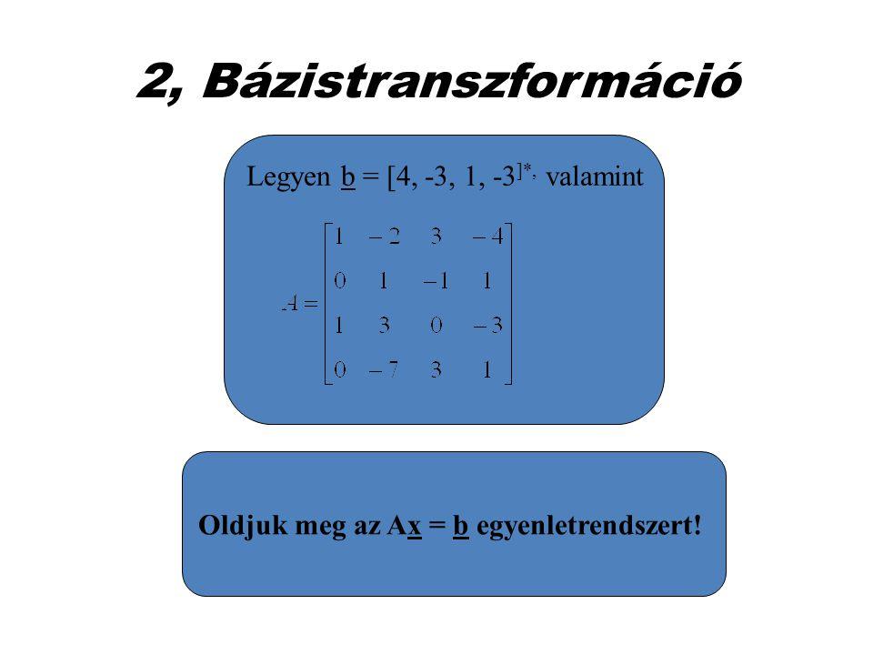 2, Bázistranszformáció Legyen b = [4, -3, 1, -3]*, valamint